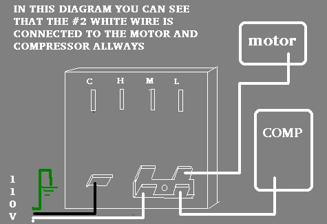 wiring diagram instructions com since the 2 white wire is allways connected to the fan and compressor since it doesn t go through a switch but in some cases as stated above